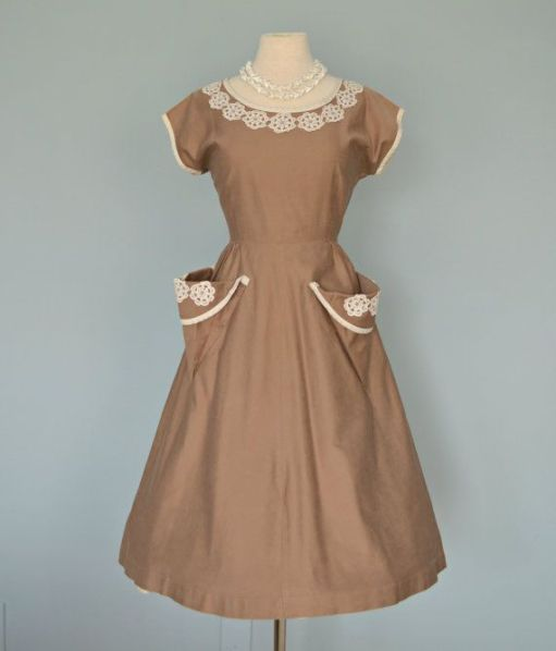 1930's dress with crochet trim