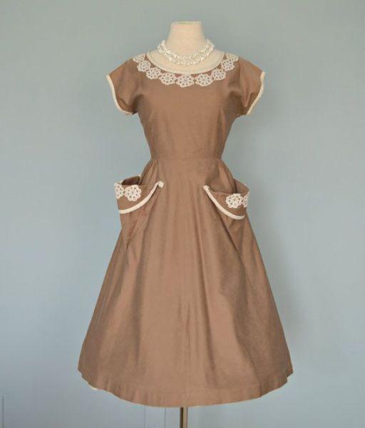 1930's dress with crochet trim