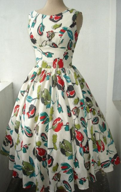 50s cotton cocktail dress