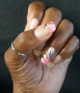 Pink Stripe Sew Lyrically Vintage NailsPink Stripe Sew Lyrically Vintage Nails